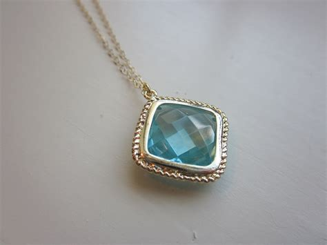 Aquamarine Jewelry by Aquamarine Necklace Gold Plated Aqua Large Pendant