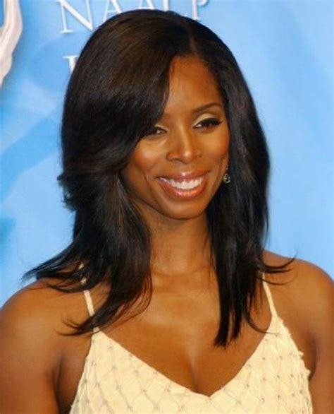 sew in hairstyles for black women 2014 straight long hair with side bangs african american