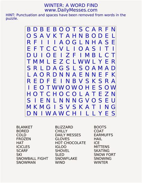 word find daily messes winter a word find word finds crossword
