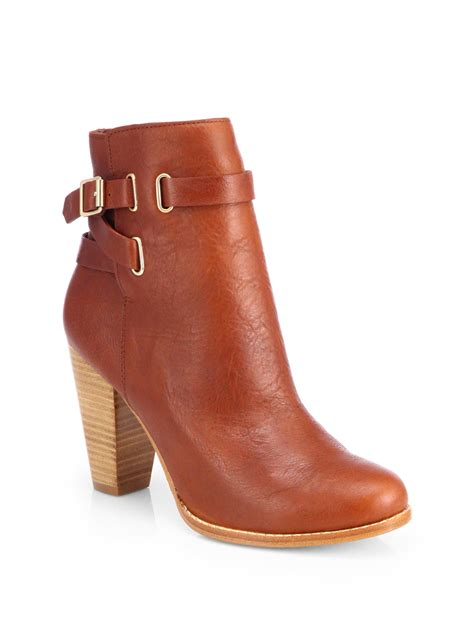 joie easton ankle boots in brown cognac lyst