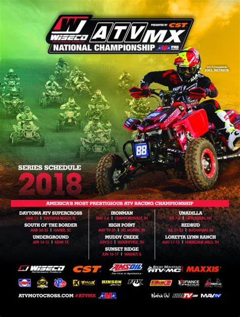 2018 Wiseco Atv Motocross Series Schedule Announcement