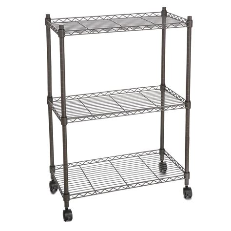 3 shelf wire shelf shelving unit modern rolling cart rack