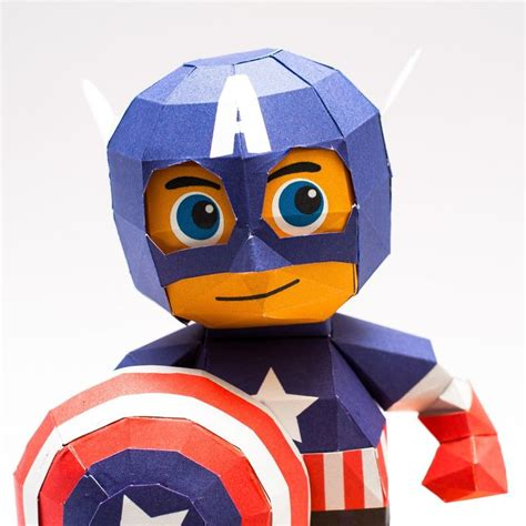 Captain America Papercraft - chibi captain america papercraft model free printable