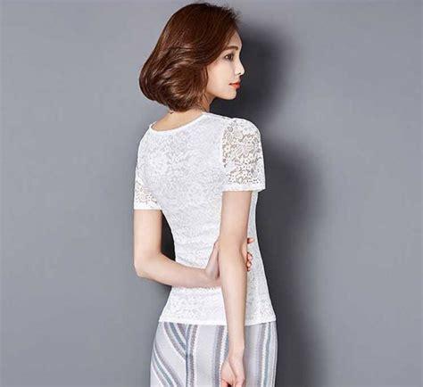 Blus Lengan Lonceng Warna Bata model blus brokat lengan pendek korea warna putih cm869