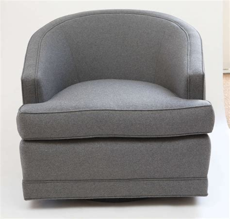 Pair Of Grey Flannel Barrel Back Swivel Chairs At 1stdibs Swivel Chair Grey