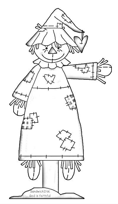 easy scarecrow coloring pages a fun scarecrow clipart and coloring page digists