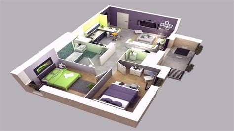 4 room house house plan design 3d 4 room