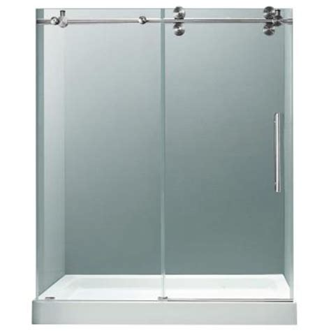Bypass Shower Doors Frameless Vigo 59 75 In X 74 In Frameless Bypass Shower Door In Chrome With Clear Glass With White Base