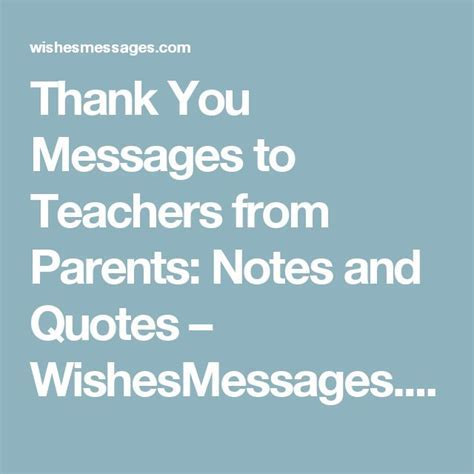Thank You Messages to Teachers from Parents: Notes and