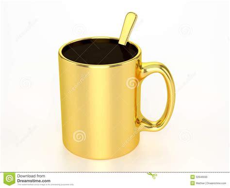 Gouden Mok Met Zwarte Koffie Stock Foto   Afbeelding: 32646930