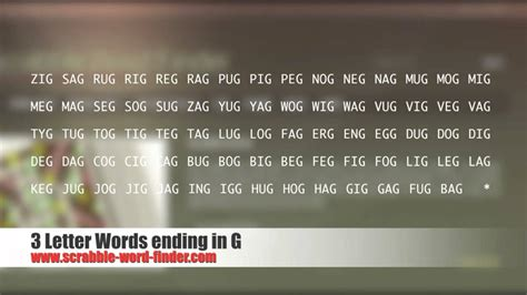 4 Letter Words Remove 3 letter words ending in g