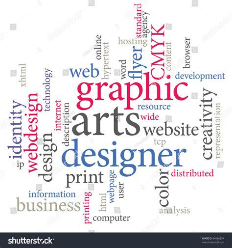 graphics design words graphic designer trendy print concept word cloud stock