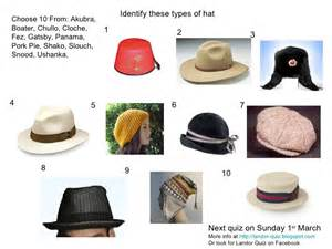 types of hat picture quiz