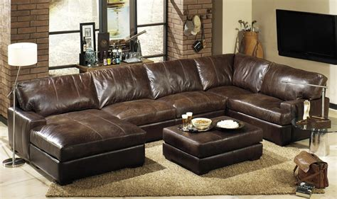 leather sectional with large ottoman large leather sectional sofas cleanupflorida com