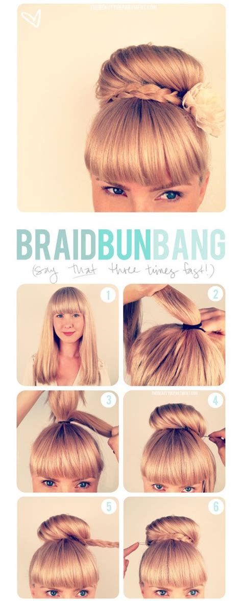 how to do a weave bun with bangs braid bun bang pictures photos and images for facebook