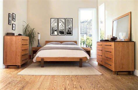 modern platform bed  solid hardwood  natural finish