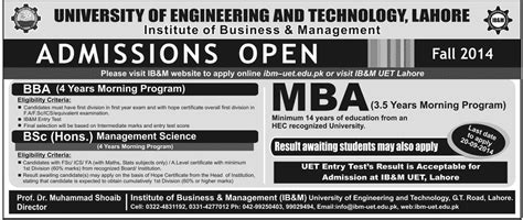 Mba Programs In Lahore Pakistan by Admissions Open 2014 15 In Uet Lahore Institute Of