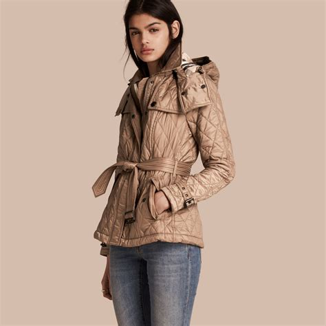 Trench Jacket quilted trench jacket with detachable in pale fawn
