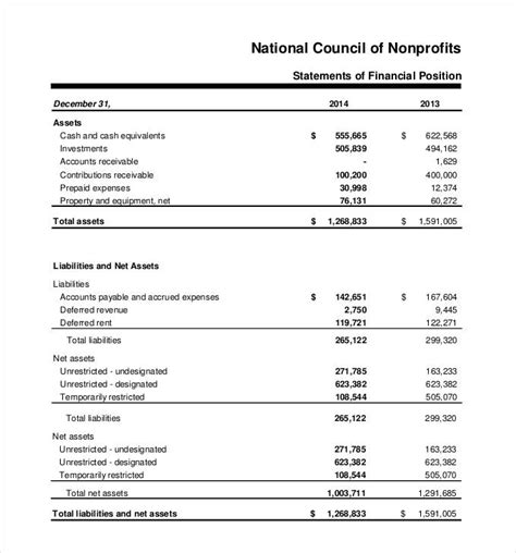non profit financial statements exle vertola