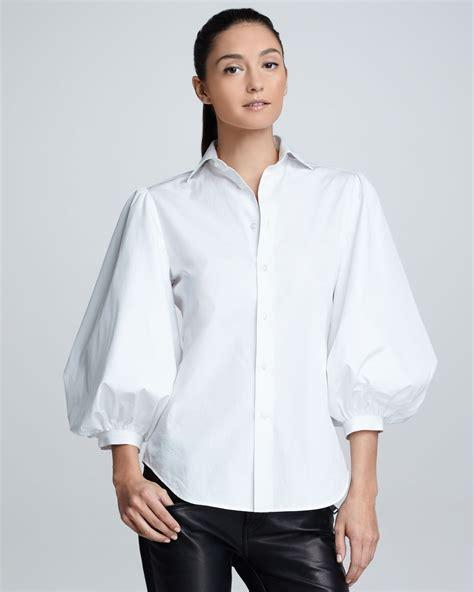 puff sleeve blouse ralph black label womens aston puffsleeve cotton