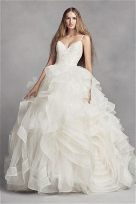Organza Plain White Wedding Dresses by White By Vera Wang Organza Rosette Wedding Dress David S