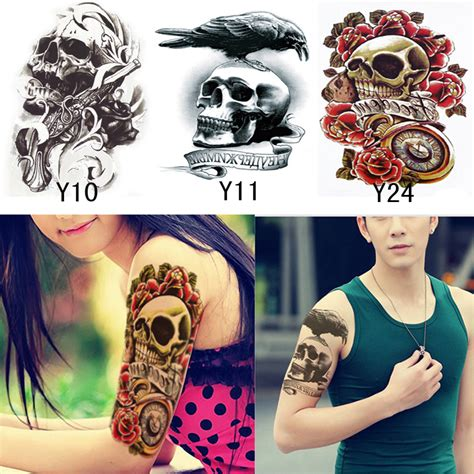 cool temporary tattoos arm skull tattoos promotion shop for promotional arm skull