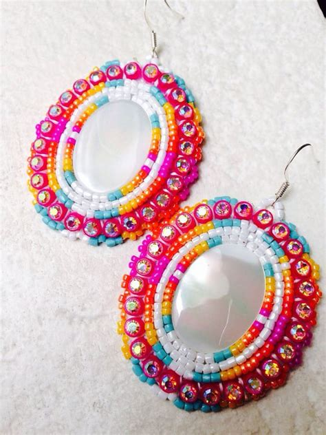 beadwork pink beaded earrings pink sunset earrings on