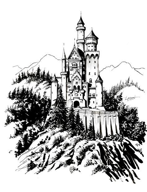 neuschwanstein castle coloring page how to draw neuschwanstein click the neuschwanstein