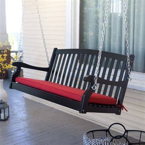porch swing black coral coast pleasant bay black curved back porch swing