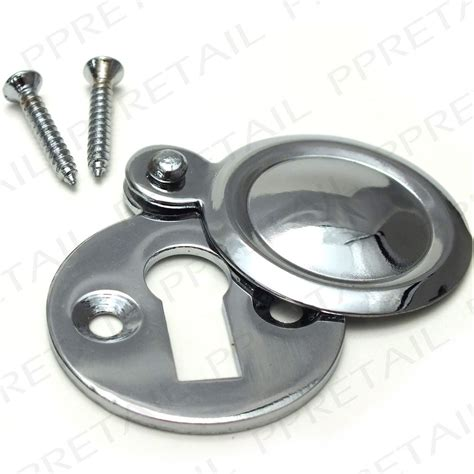 chrome covered key escutcheon front door