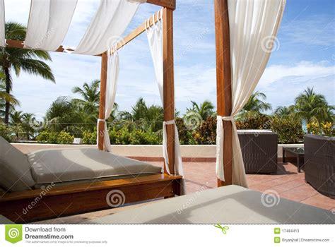 outdoor cabana beds   tropics stock  image