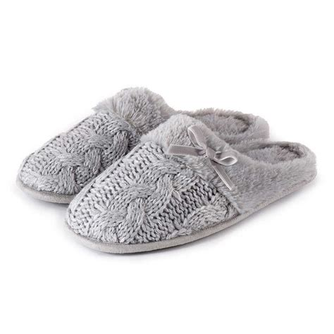 knitted mule slippers totes cable knit mule slippers ebay