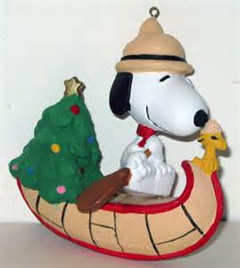 snoopy woodstock beaglescouts in canoe ornament