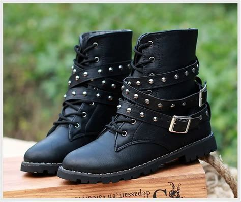 black biker style boots womens motorcycle boots combat flat biker slip on buckle