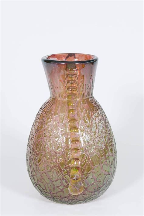 Italian Glass Vase by Italian Venetian Vase In Murano Glass In Pink And Green At