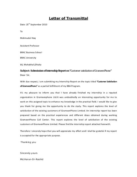 Transmittal Letter Sle For Research Paper Internship Report On Customer Satisfaction Of Grameen Phone By Lectur