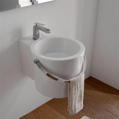 unique round wall mounted or vessel bathroom bucket sink