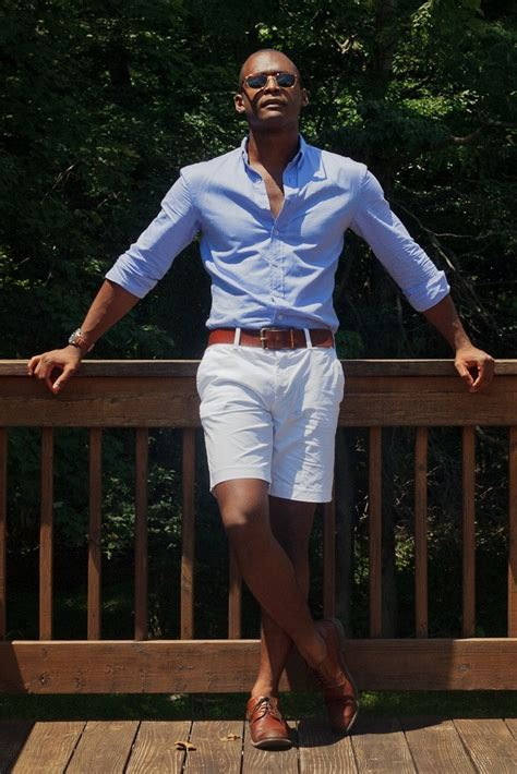 s light blue sleeve shirt white shorts brown leather derby shoes brown leather belt