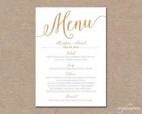 gold wedding menu card printable wedding menu script wedding diy printable menu cards