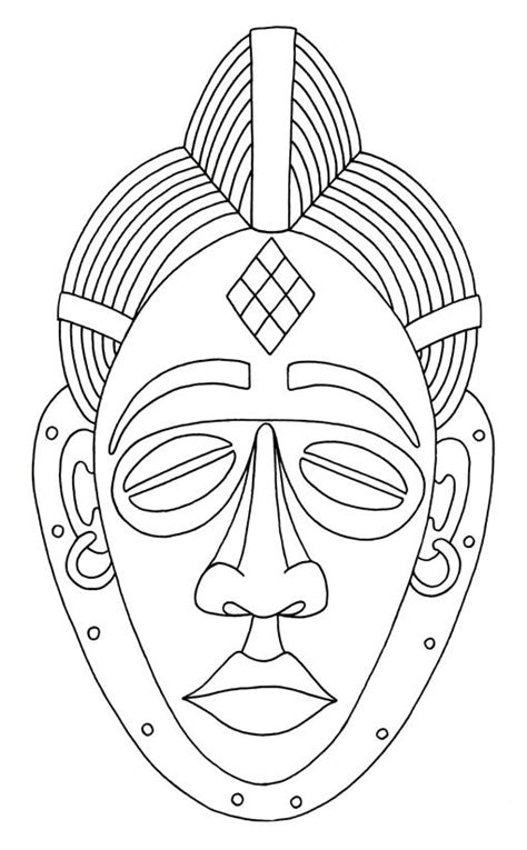 printable african mask african mask coloring page coloring home