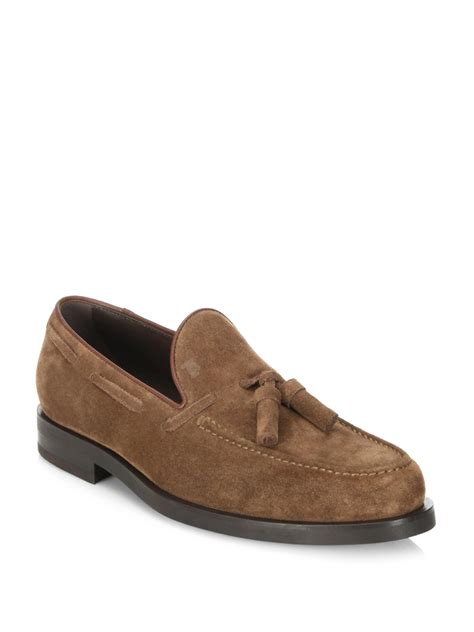 tods tassel loafer lyst tod s tassel suede loafers in brown for
