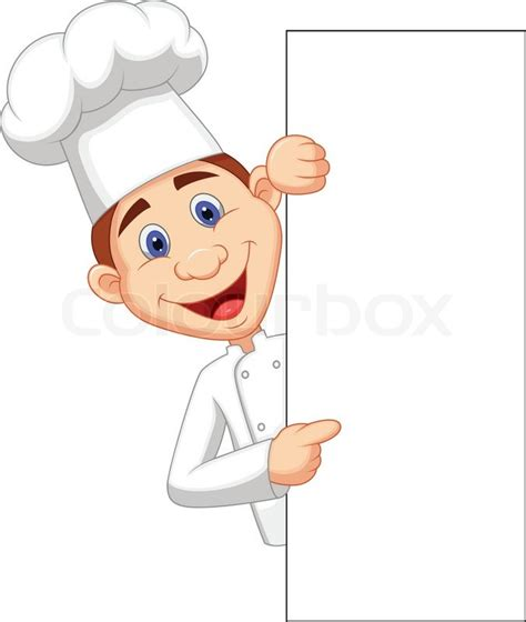 French Bistro Kitchen Design by Vector Illustration Of Happy Chef Cartoon Holding Blank