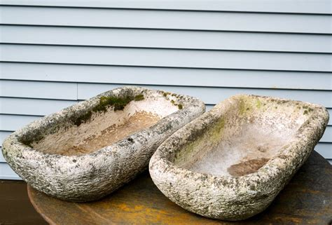 Limestone Planters by Pair Of Vintage Carved Limestone Rectangular Planters