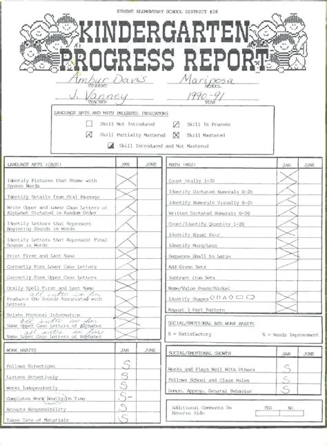 Preschool Weekly Report Template