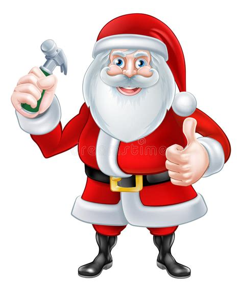 santa claus thumbs up santa holding hammer stock vector image 53175901