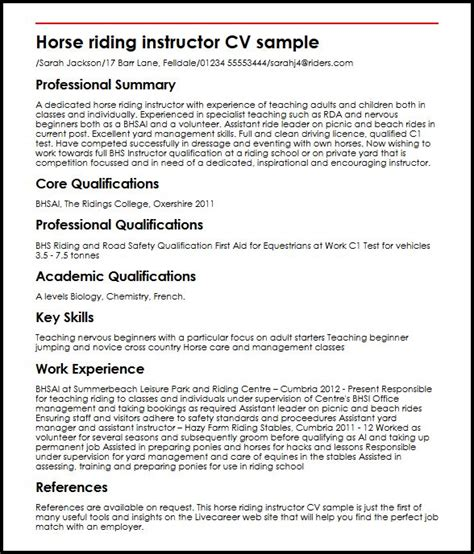 Resume Sample Objective Summary by Horse Riding Instructor Cv Sample Myperfectcv