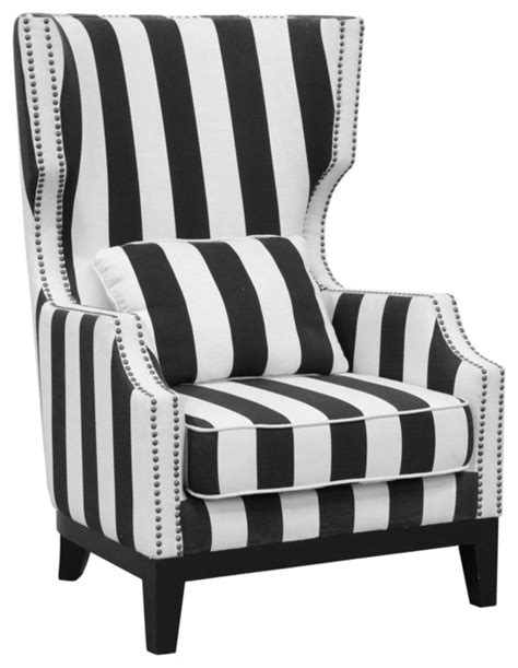 Black And White Striped Accent Chair Club Chair Striped Contemporary Armchairs And Accent Chairs By Kosas