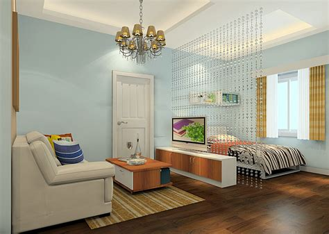 one room living space single apartment partition between the living room and bedroom 3d house
