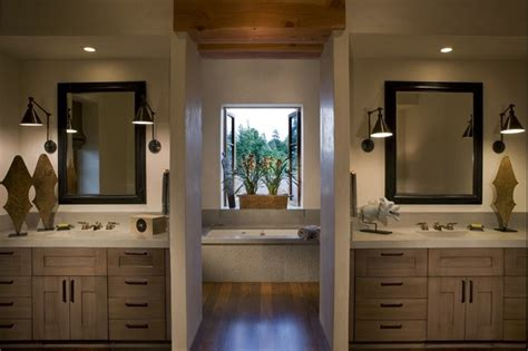 split bathroom design master bath with his and her s concrete counters rustic