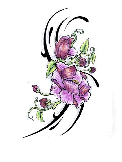 flower with vines tattoo designs pink flowers with tribal design